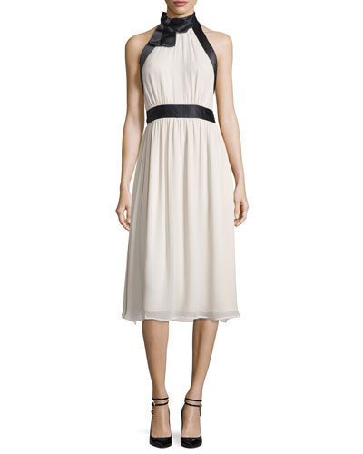 sleeveless satin-trim dress, light shale