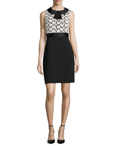 sleeveless floral lace sheath dress, light shale/black