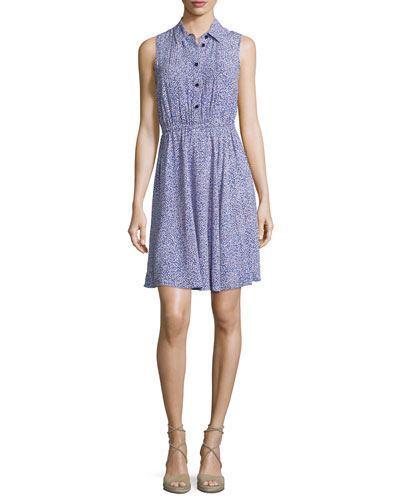 sleeveless floral jersey shirtdress, ensemble blue
