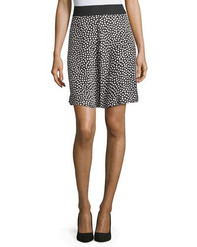 silk polka-dot skirt, black/cream
