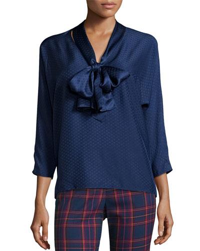3/4-Sleeve Silk Jacquard Tie-Neck Top, Midnight