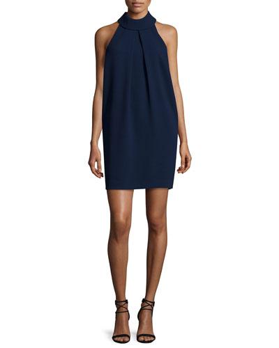 Sleeveless Pleated Mock-Neck Shift Dress, Indigo