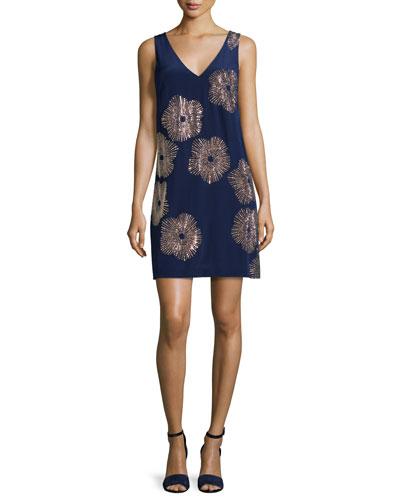 Sleeveless Embellished Silk Shift Dress, Midnight