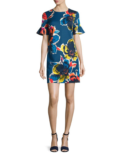 Short-Sleeve Floral Stretch Crepe Shift Dress, Midnight