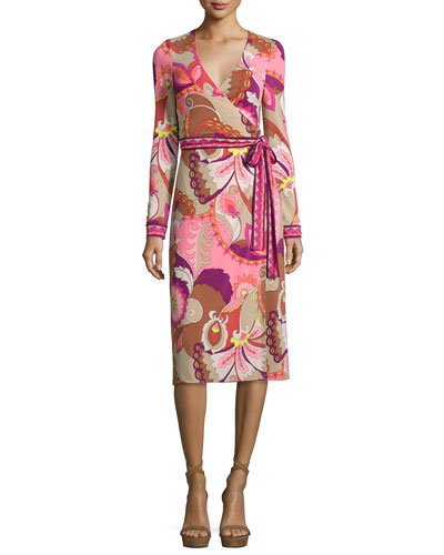 Long-Sleeve Floral Wrap Dress, Shrimp