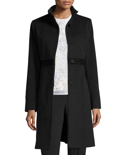 Wool Lace-Trim Coat, Oxford