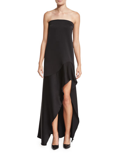 Off-the-Shoulder Satin & Crepe Mermaid Gown, Jet Black