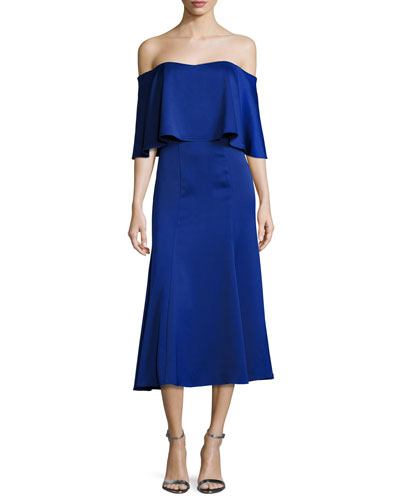 Ruffle Fit and Flare Cocktail Dress, Cobalt