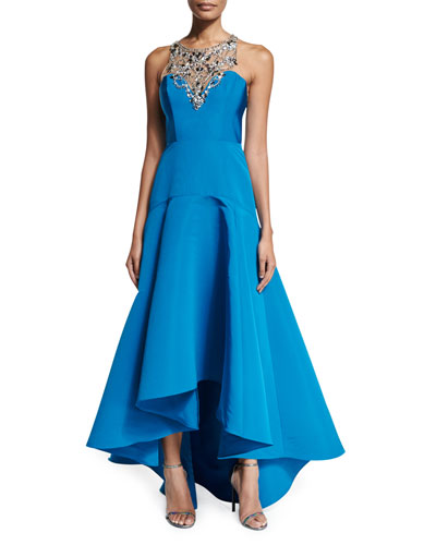 Sleeveless Embellished High-Low Gown, Peacock
