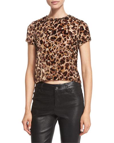 Deandrea Leopard-Print Cropped T-Shirt