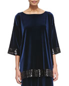 Velour Sequin-Trimmed Tunic, Navy, Petite