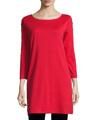 3/4-Sleeve Studded Tunic, Red, Petite
