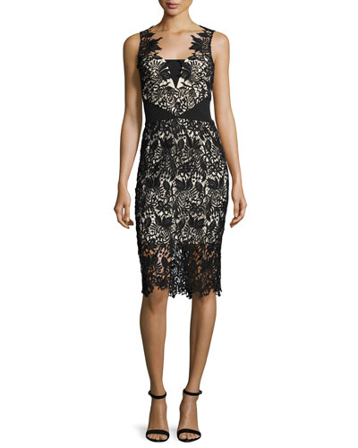 Sleeveless Lace Cocktail Dress, Jet