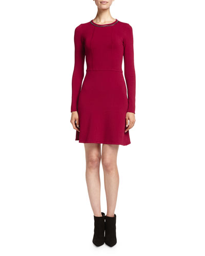 Embellished Fit-and-Flare Ponte Dress, Garnet