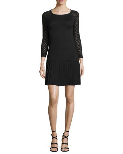 Argyle-Sleeve Pleated Sweaterdress, Jet
