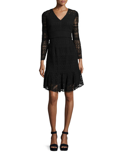 Mixed-Lace A-Line Flounce Dress, Jet