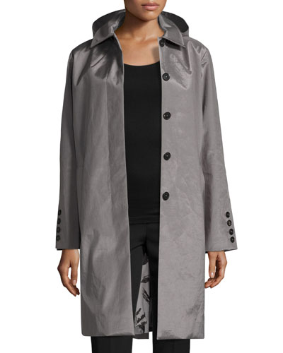 Hooded Tech-Fabric Jacket, Gray