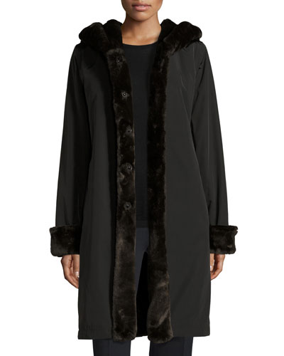 Hooded Faux-Fur-Trim Jacket, Black/Brown