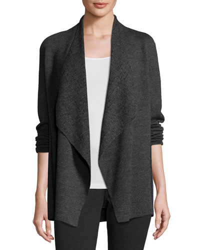 Fine Merino Birdseye Angle-Front Jacket, Charcoal, Petite