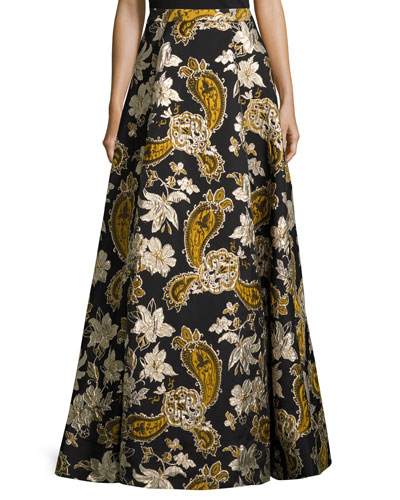 Paisley Embroidered Ball Skirt, Black/Gold