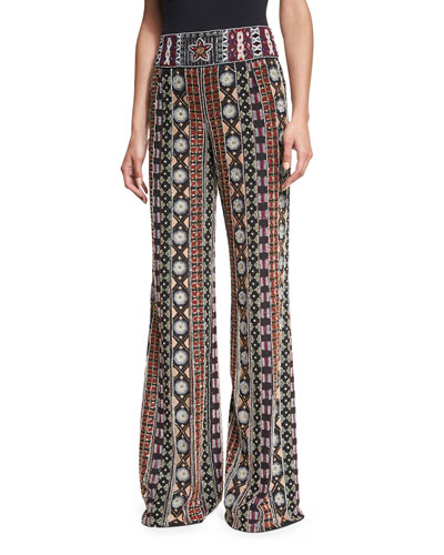 Embellished Wide-Leg Pants, Black/Multicolor
