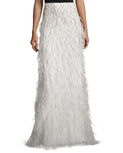 Webbed Feather Maxi Skirt, Cream