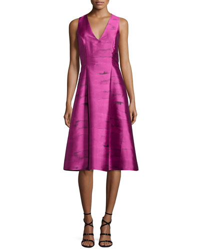 Sleeveless Printed Pleated Taffeta Dress, Pink Topaz