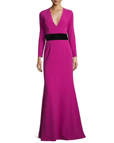 Long-Sleeve Crepe Tie-Back Gown, Pink Topaz