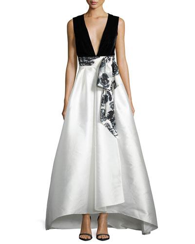 Sleeveless Velvet & Satin Combo Gown, Onyx/Pearl