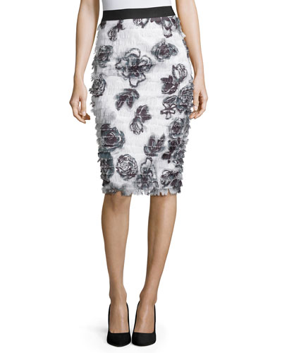 Floral Eyelash Fringe Pencil Skirt, Onyx/Pearl