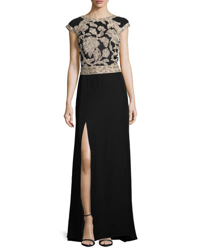 Cap-Sleeve Lace-Trim Crepe Column Gown, Ginseng/Black