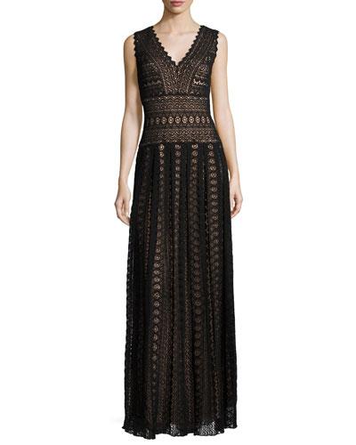 Sleeveless Medallion Lace Column Dress, Black/Nude