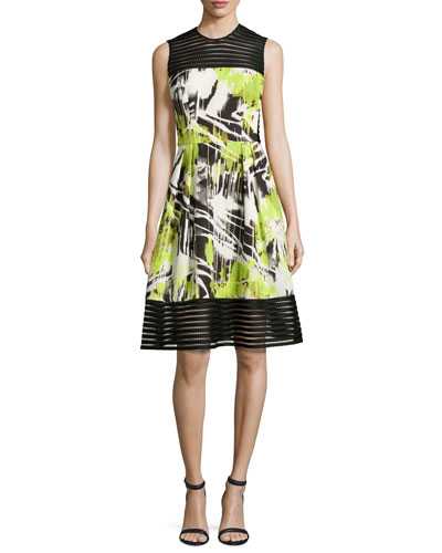 Sleeveless Abstract-Print A-Line Dress, Lime