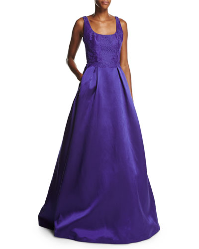 Sleeveless Lace & Mikado Ball Gown, Deep Purple