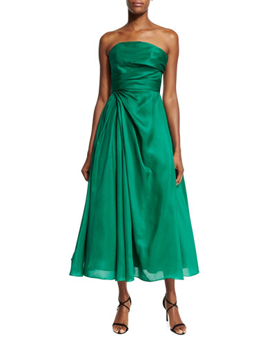 Strapless Ruched Mikado Cocktail Dress, Emerald