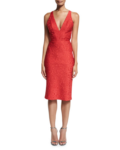 Sleeveless Jacquard Cocktail Dress, Redberry