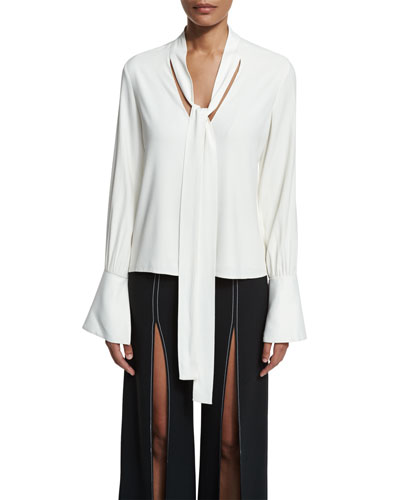 Diana Bell-Sleeve Tie-Neck Blouse, White