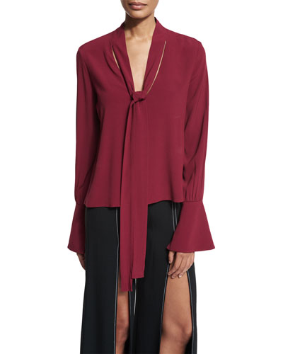 Diana Tie-Neck Long-Sleeve Top, Burgundy