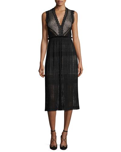 Bryana Sleeveless Plisse Lace Midi Dress, Black