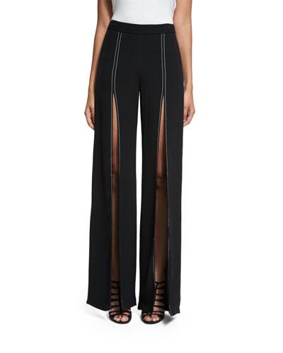 Oliviera High-Rise Split Flare-Leg Pants, Black