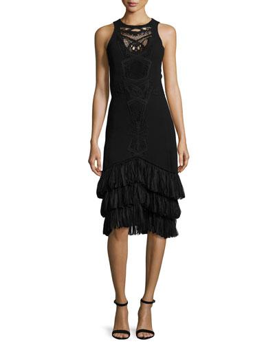 Embroidered Sleeveless Midi Dress