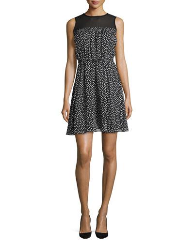 sleeveless silk chiffon polka-dot dress, black/cream