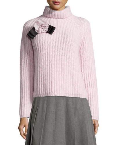 ribbed turtleneck sweater, orchid frost