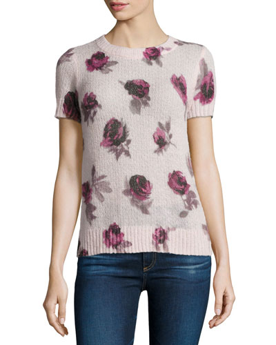 short-sleeve rose pullover sweater, plum dawn