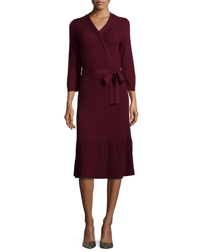 3/4-sleeve ribbed wool wrap dress, midnight wine