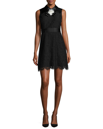sleeveless lace cocktail dress, black