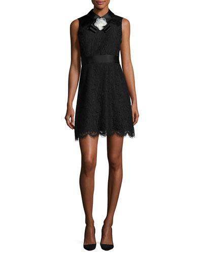 sleeveless lace cocktail dress, black