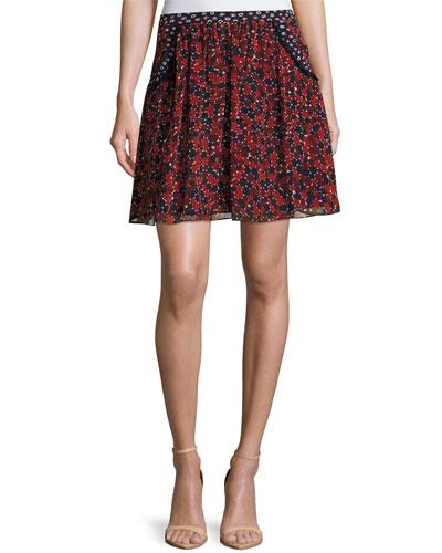 Marisa Printed Chiffon Skirt, Montage Mini Rubiate