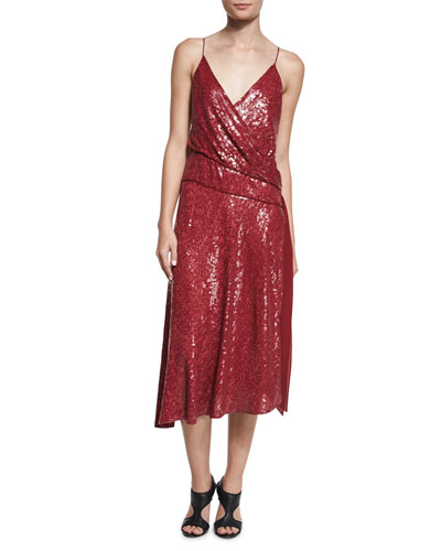 Brenndah Sequin Surplice-Front Dress, Garnet