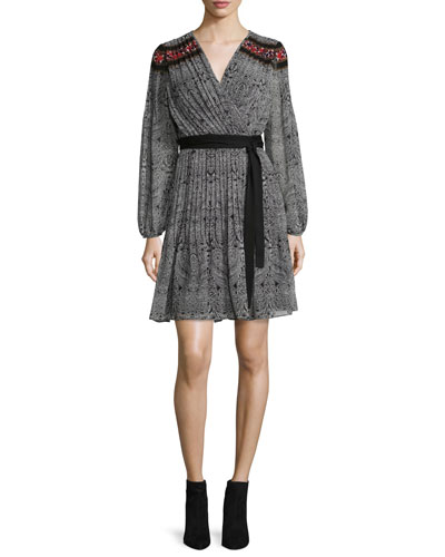 Bianka Long-Sleeve Wrap Dress, Cabriole Dot